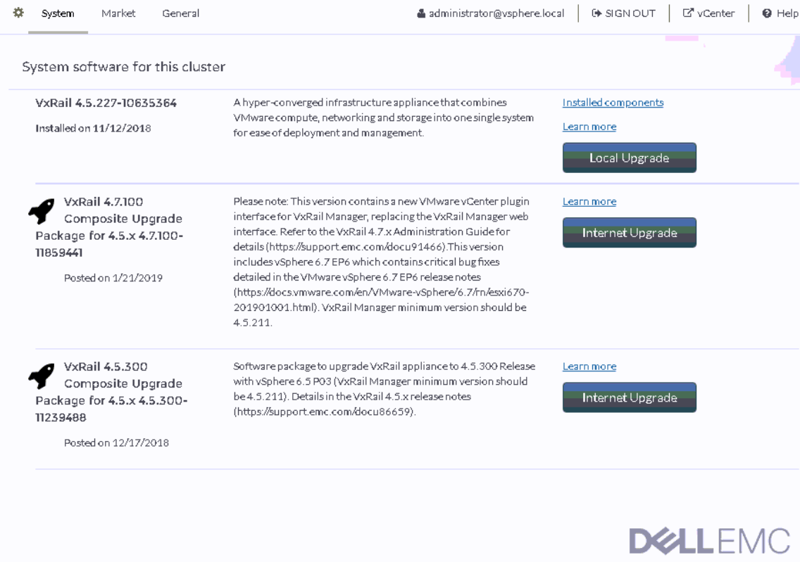 Upgrading VxRail from 4 5 227 to 4 7 100–One Click