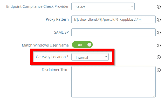What is the VMware UAG Gateway location? 1