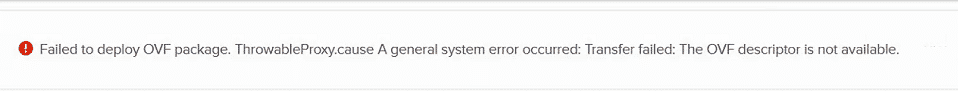 VMware: Failed to Deploy OVF package 2